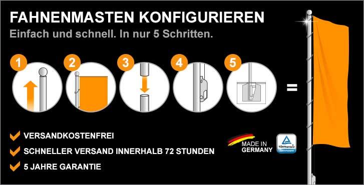 Konfigurieren Sie sich Ihren TÜV geprüften Fahnenmasten (Made in Germany)